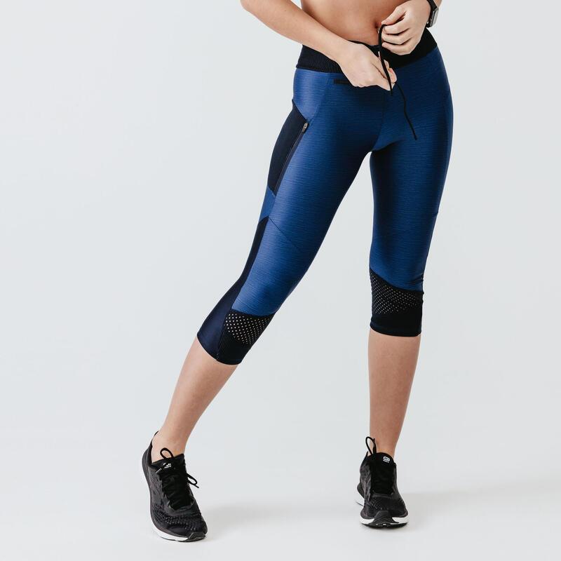 Legging de running court sans couture femme - RunDry+ Feel bleu