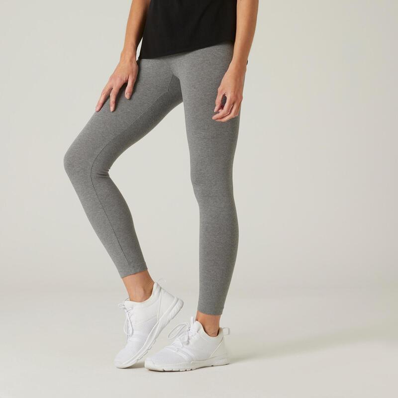 Legging voor fitness Fit+ katoen 7/8 gemêleerd grijs