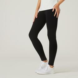 Legging fitness long coton extensible ceinture basse femme - Salto noir