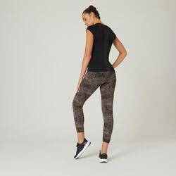 Leggings aus Baumwolle Fitness figurformend Damen grau bedruckt