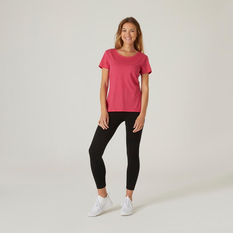เสื้อผ้าฝ้ายเนื้อผ้ายืดหยุ่นสำหรับการออกกำลังกาย (สีชมพู)