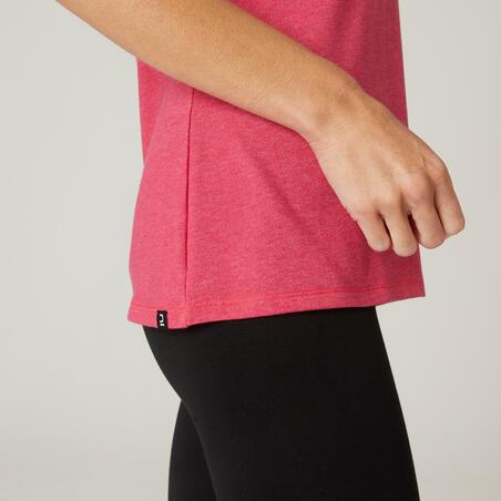 Playera algodón extensible fitness rosa jaspeado