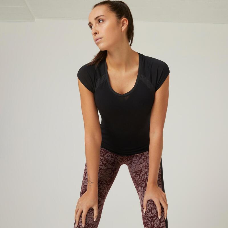 T-shirt fitness manches courtes avec Mesh coton extensible col en V femme noir