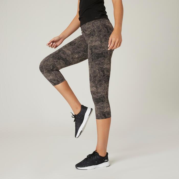 Leggings 7/8 Fitness Baumwolle kurz figurformend Damen grau mit Print