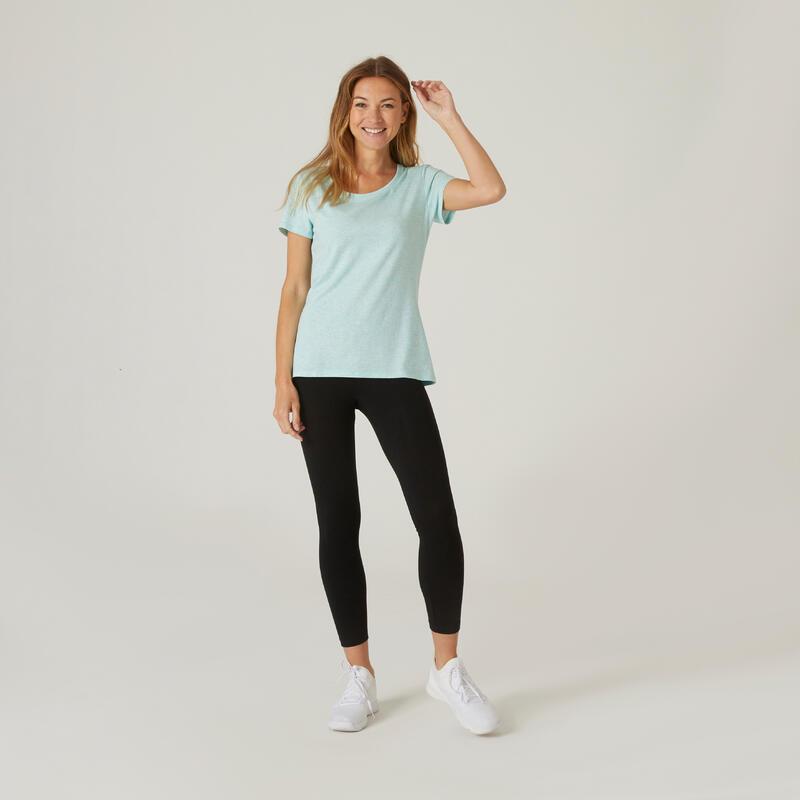 Stretchy Cotton Fitness T-Shirt - Light Mottled Blue