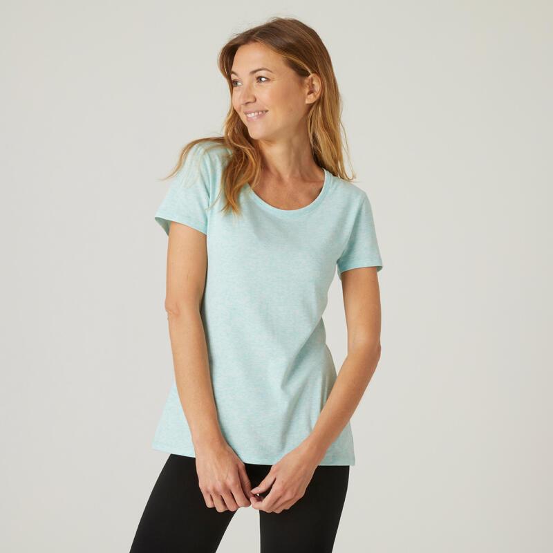 T-shirt fitness manches courtes slim coton extensible col rond femme vert