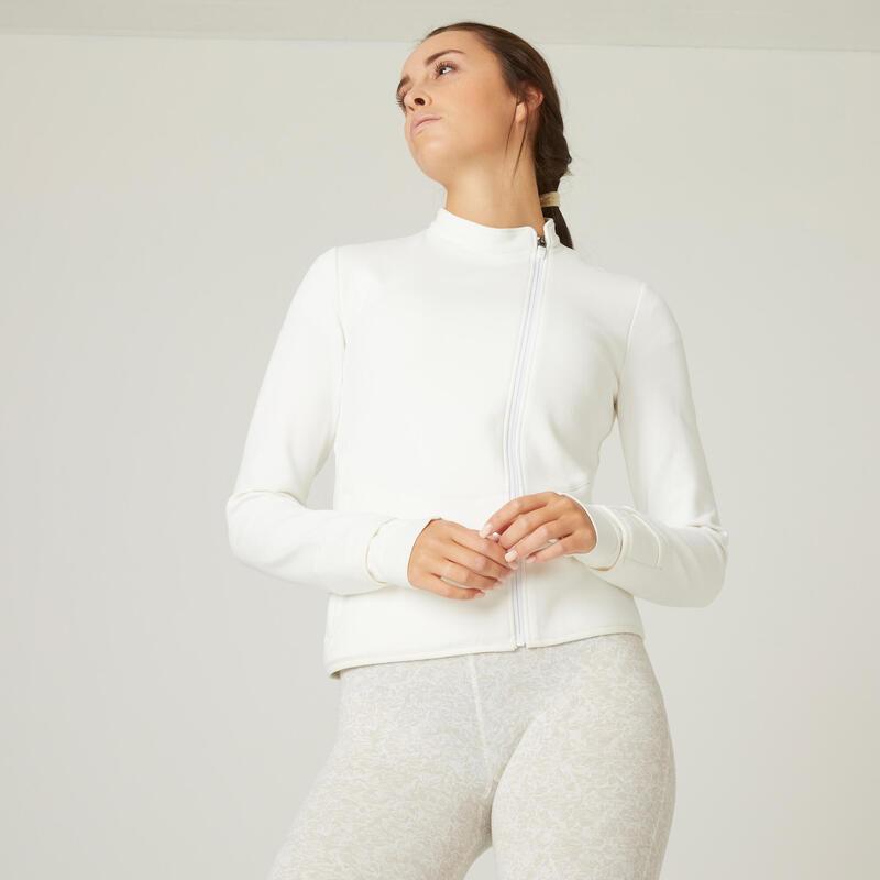 Sweat Zippé Fitness poches zippées Blanc Cassé