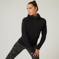Sweatjacke Kapuze Fitness mit Reissverschlusstaschen schwarz