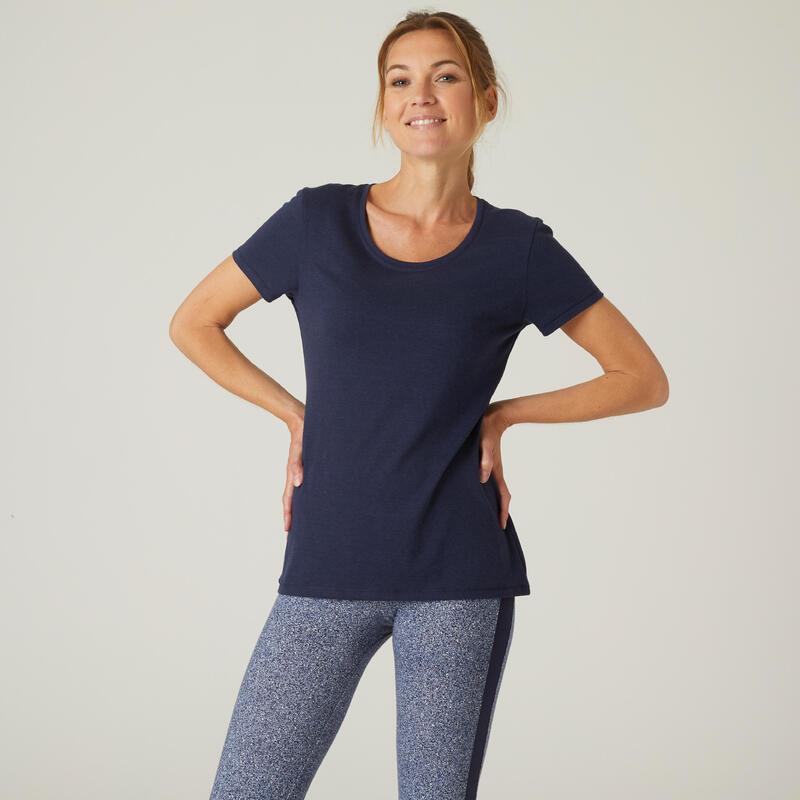 T-shirt Sport Pilates Gym douce Femme 500 Regular Bleu Marine Printé
