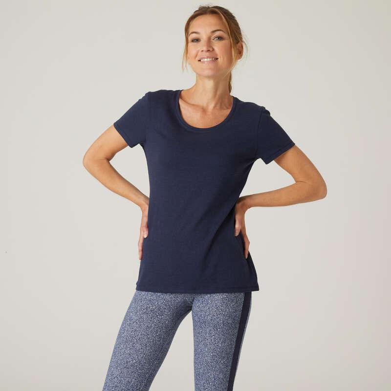 KLÄDER FÖR GYMNASTIK, PILATES, DAM Fitness - T-Shirt Reg 500 Marinblå dam NYAMBA - Fitnesskläder för dam