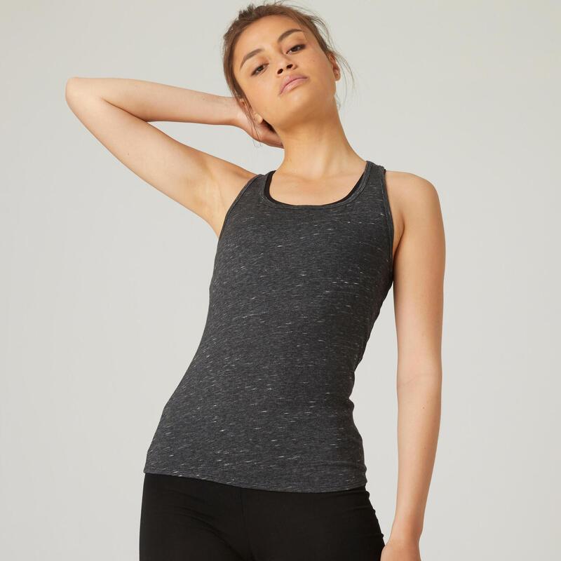 Stretch topje voor fitness katoen zwart