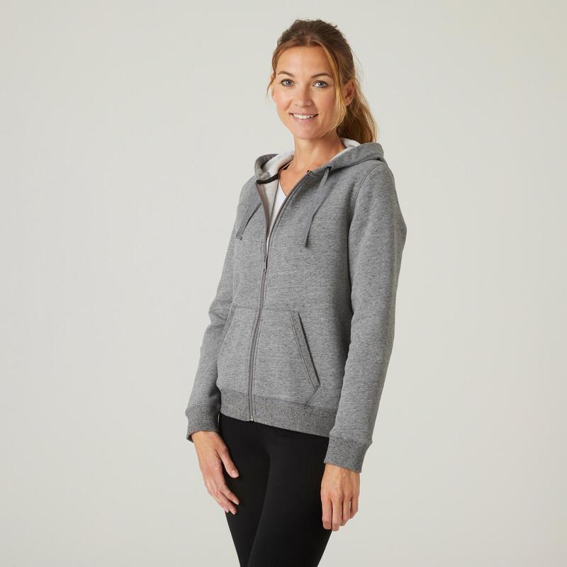 Warme hoodie met rits voor fitness grijs