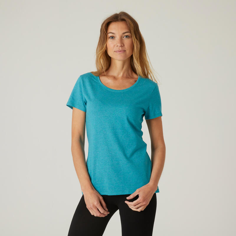 T-shirt fitness manches courtes slim coton extensible col rond femme turquoise