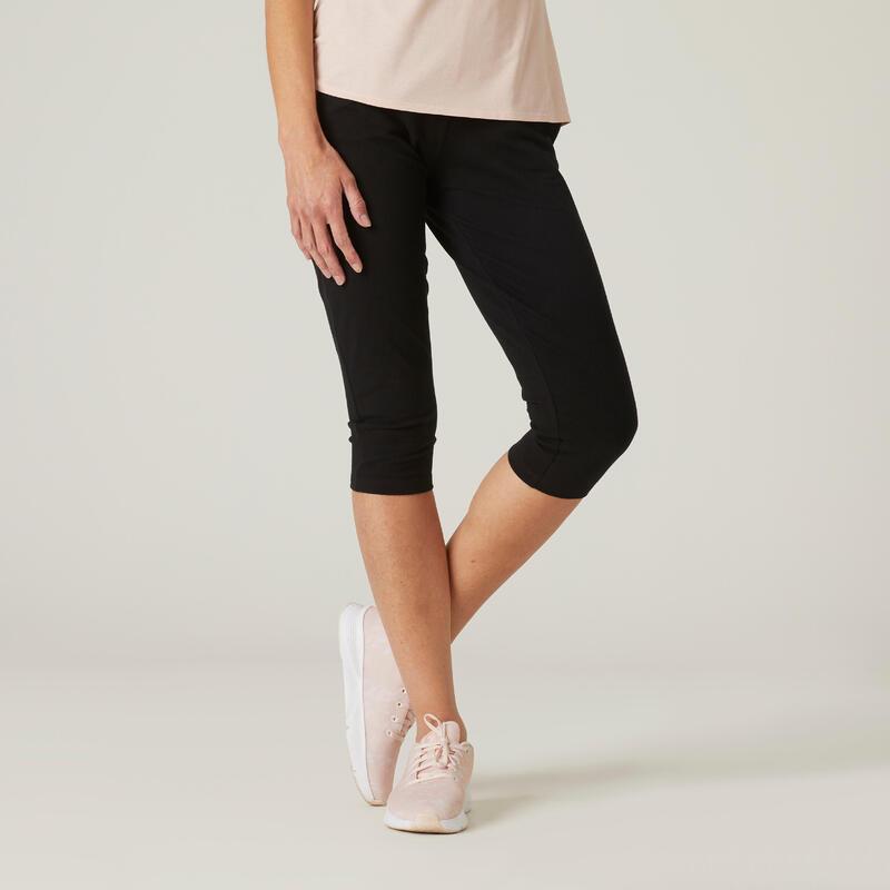 Kuitbroek met bandplooitjes voor fitness Fit+ aansluitend model zwart