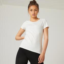 T-shirt Slim de Ginástica em Algodão Extensível Gola Redonda Mulher Branco Mescl