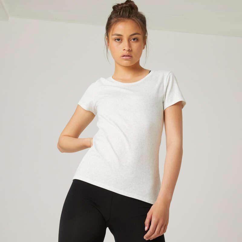 KLÄDER FÖR GYMNASTIK, PILATES, DAM Fitness - T-shirt Regular 500 Dam vit NYAMBA - Fitnesskläder för dam