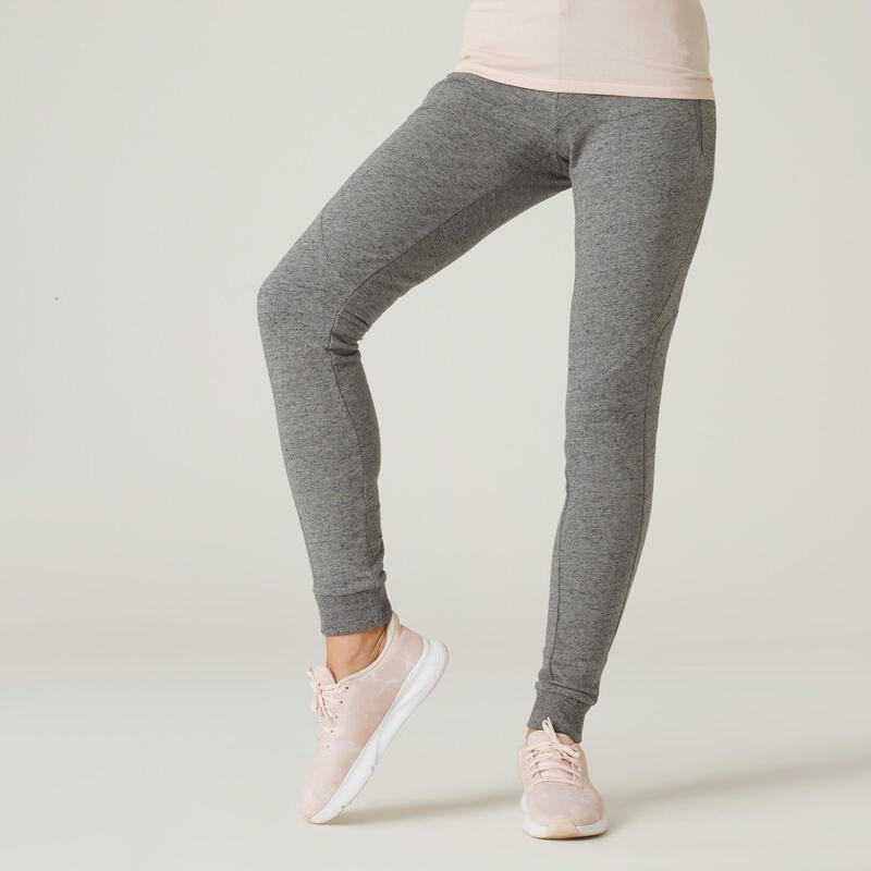 Warm Slim-Fit Fitness Jogging Bottoms with Zippered Pockets - Grey