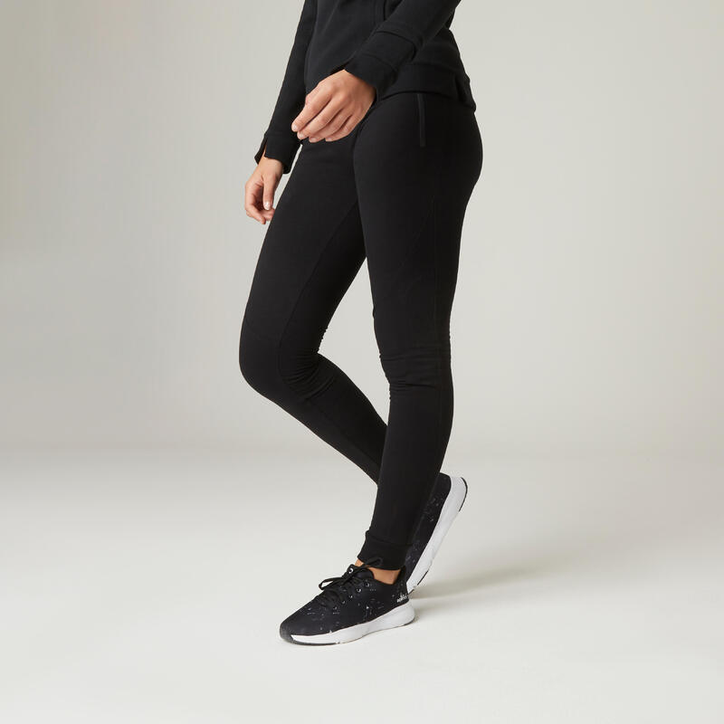 Warm Slim-Fit Fitness Jogging Bottoms with Zippered Pockets - Black