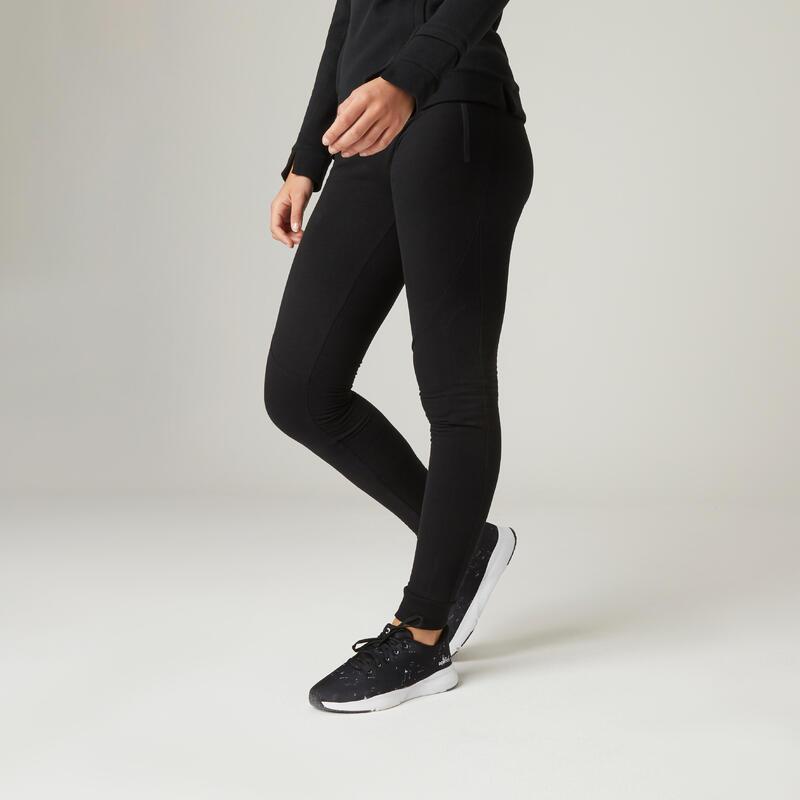 Warme fitnessbroek met ritszakken slim fit zwart