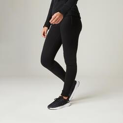 Pantaloni pesanti slim donna ginnastica 520 neri
