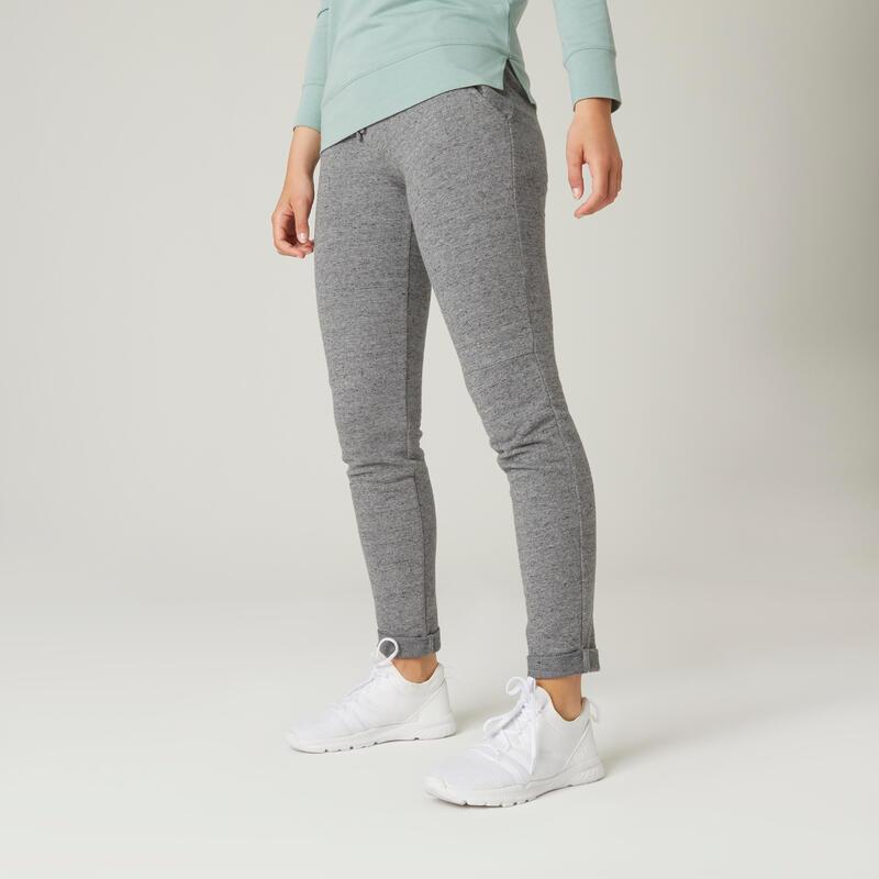 Joggingbroek voor fitness slim fit aansluitend aan de enkels grijs