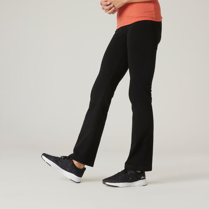 Straight-Cut Fitness Cotton Leggings with Adjustable Cuffs Fit+ - Black