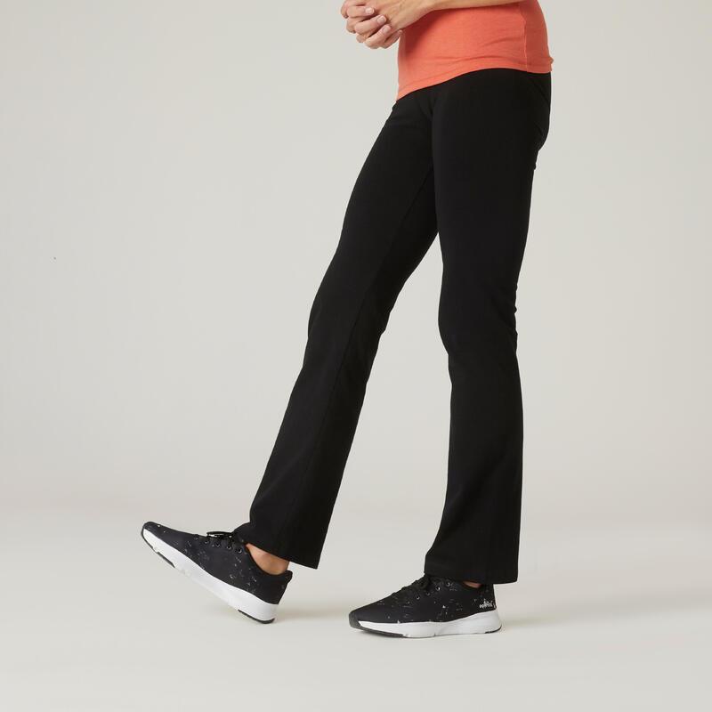 Legging Coton Fitness Fit+ Coupe droite et bas resserable Noir