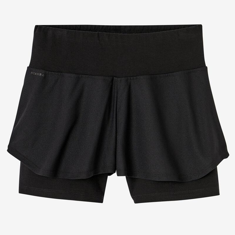 Short Coton Extensible Fitness 2 en 1 Noir