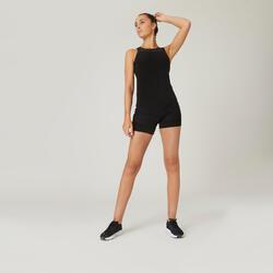 Shorts 2-in-1 Fitness Baumwolle dehnbar Damen schwarz