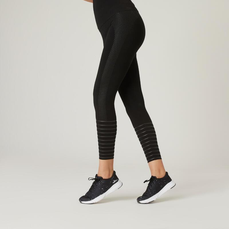 Legging fitness 7/8 coton extensible gainant femme - noir