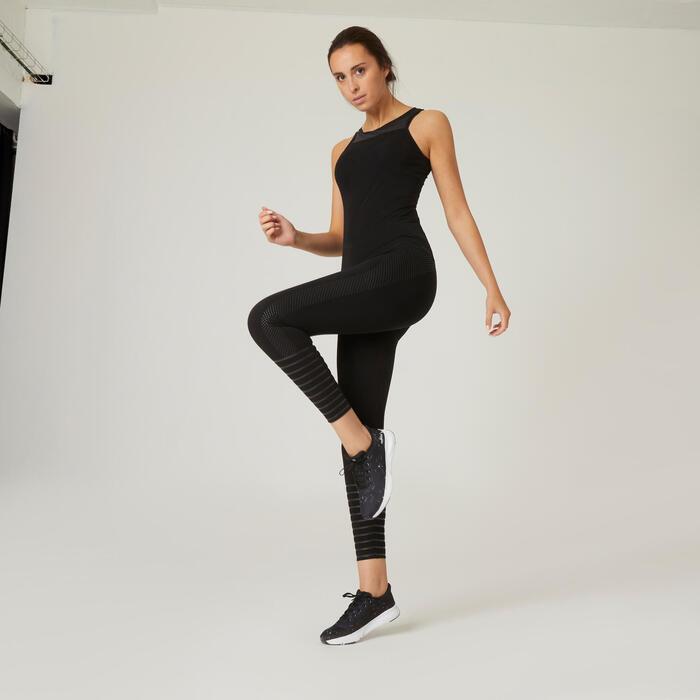 Leggings Fitness Baumwolle figurformend Damen schwarz