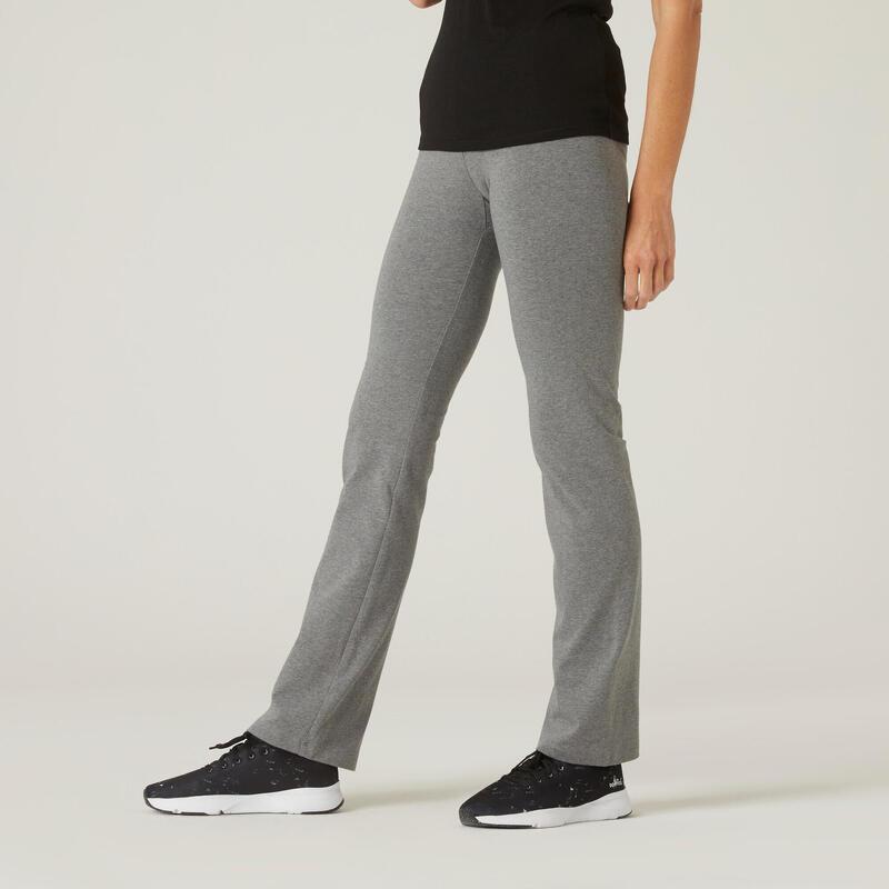 Legging fitness long coton extensible ceinture basse femme - Fit+ gris