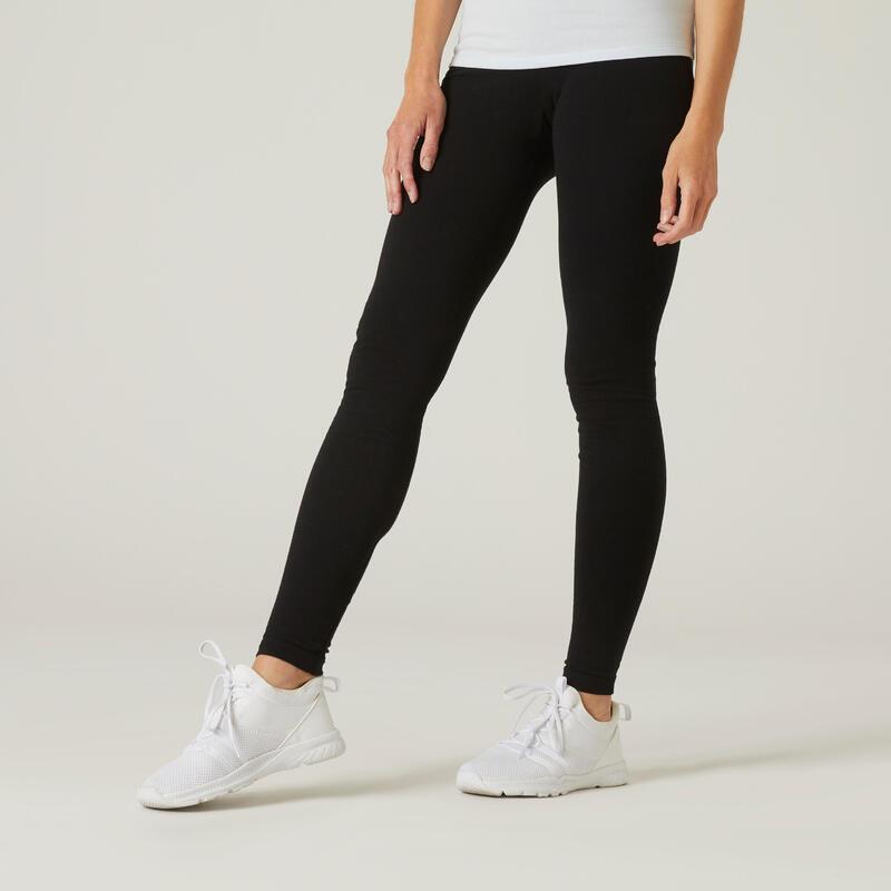 Legging fitness long coton extensible avec poches femme - Fit+ noir