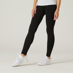 Leggings cotone donna FIT+ 500 slim neri