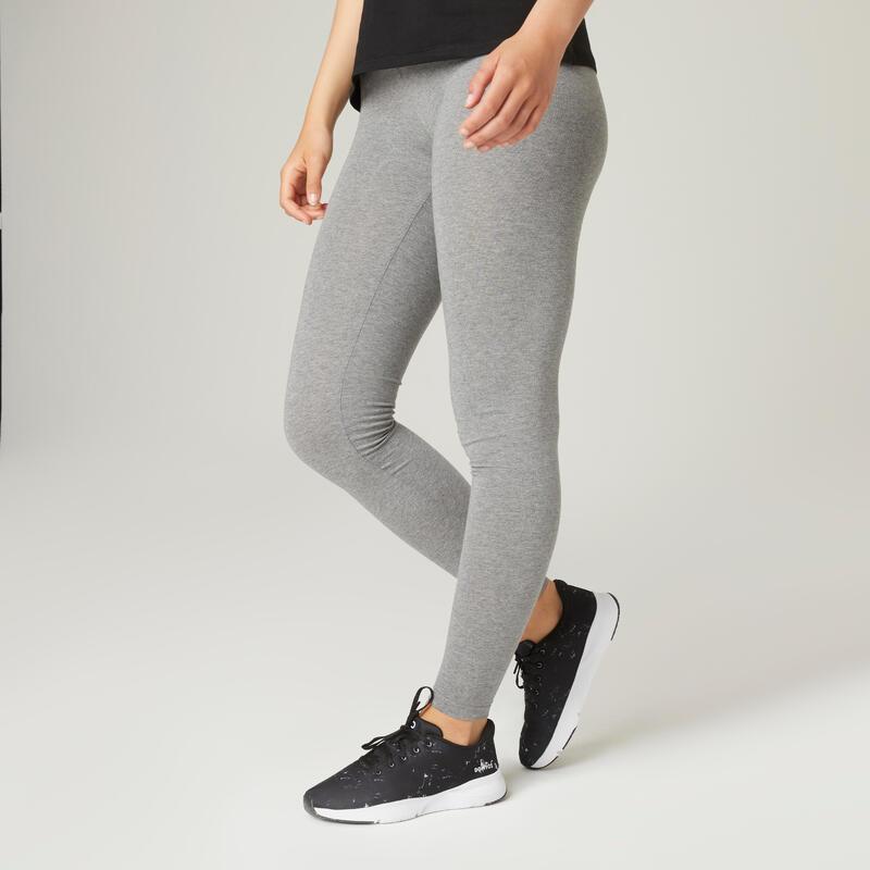Legging fitness long coton extensible avec poches femme - Fit+ gris