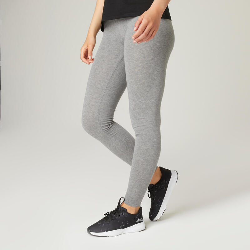 Leggings donna fitness FIT+ 500 grigi