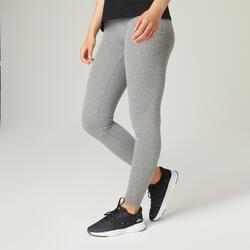 Leggings cotone donna FIT+ 500 slim grigi