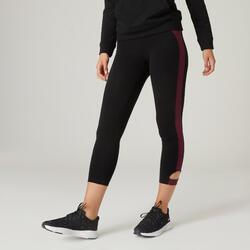 Stretch legging voor fitness katoen 7/8 zwart/bordeaux