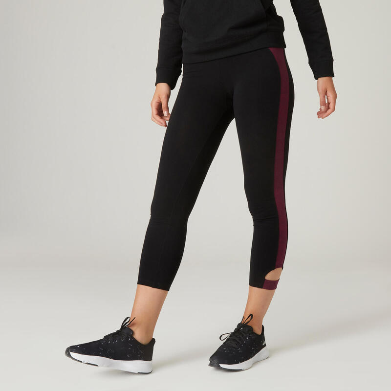 Short Stretchy Cotton Fitness 7/8 Leggings - Black/Burgundy