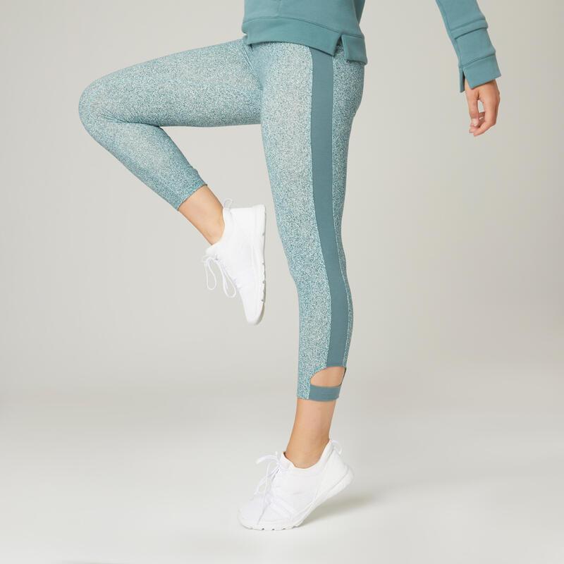 Stretch legging voor fitness katoen 7/8 groen met print