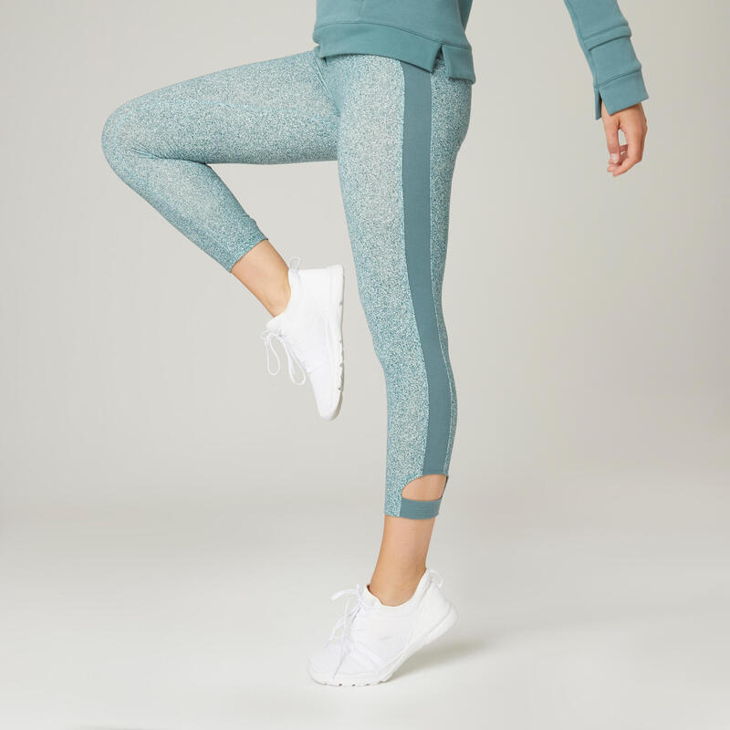 Stretchy Cotton Fitness 7/8 Leggings - Green Print