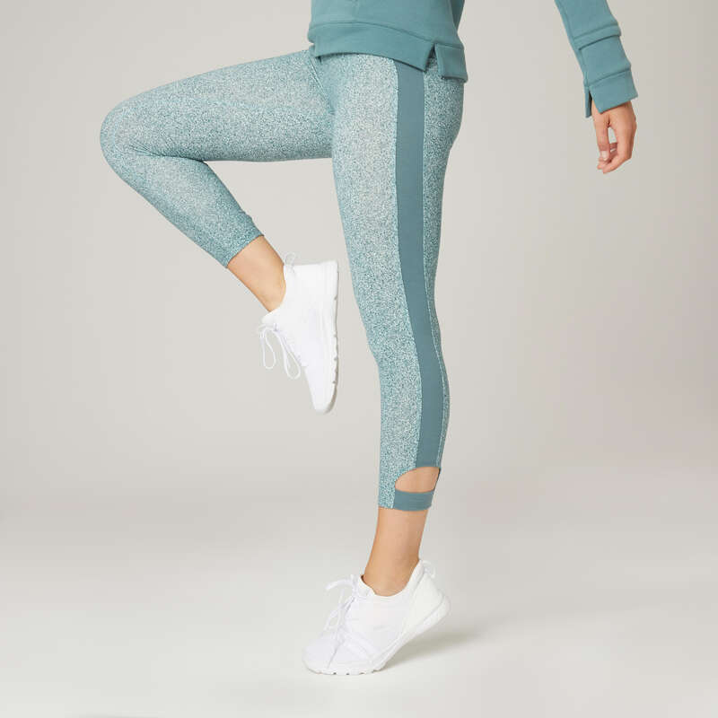 Bekleidung Damen Leggings&T-Shirts Yoga - 7/8-Leggings 510 D grün AOP DOMYOS - Yoga Bekleidung