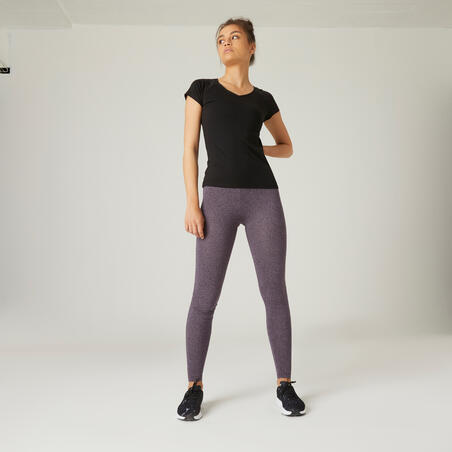 Playera algodón extensible fitness slim negro