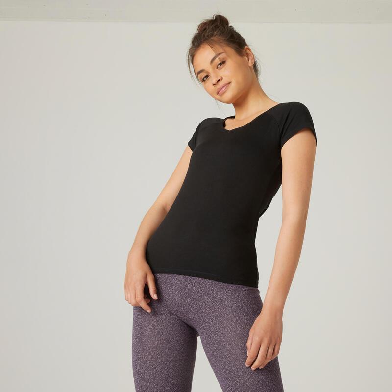 T-shirt fitness manches courtes slim coton extensible col en V femme noir