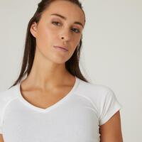 Playera algodón extensible Fitness Slim blanco