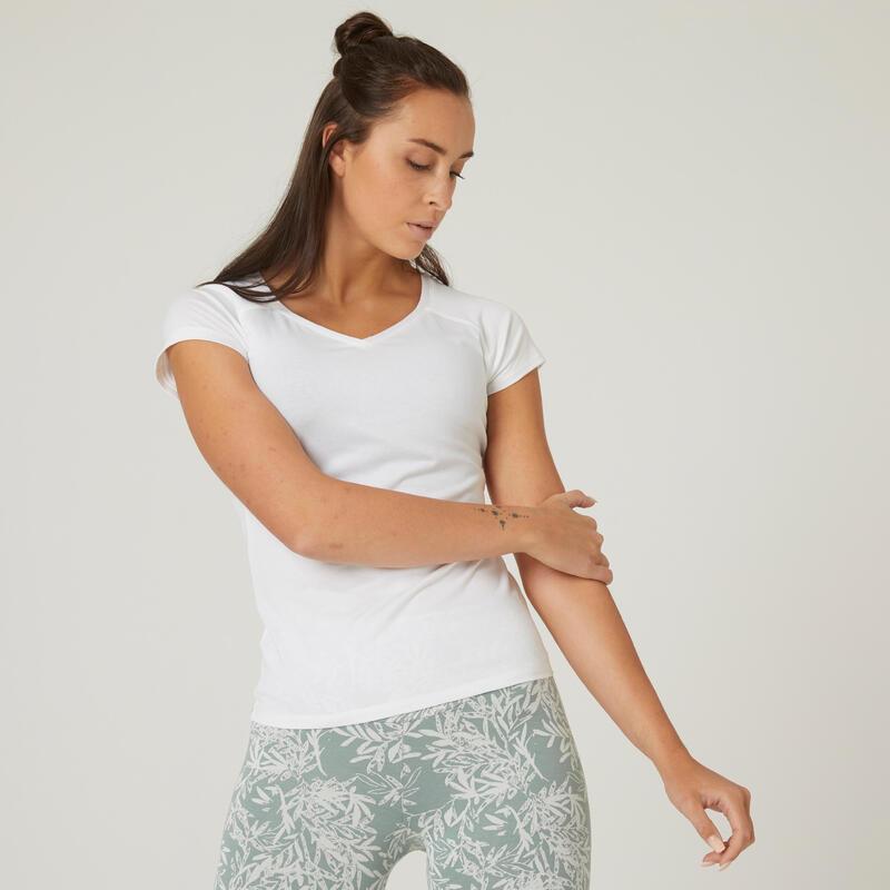 T-shirt fitness manches courtes slim coton extensible col en V femme blanc