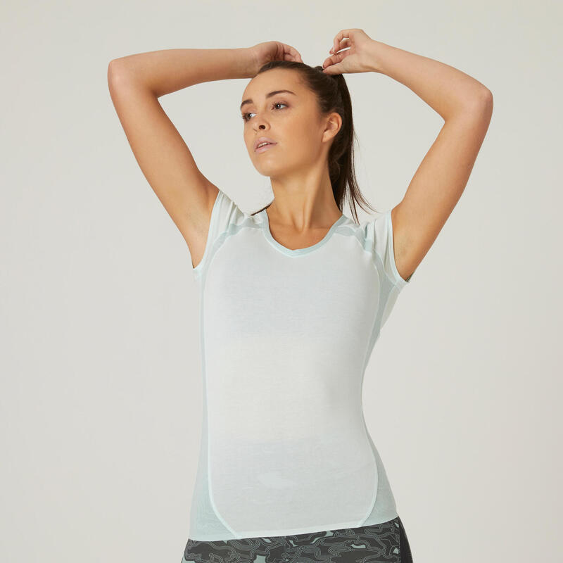 T-shirt fitness manches courtes slim coton extensible col en V femme vert