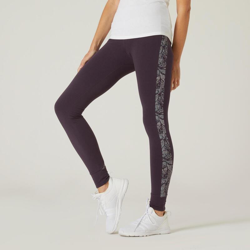 Legging fitness long coton extensible taille haute femme - violet avec imprimé