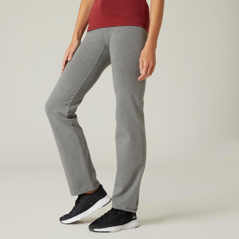 Straight-Cut Cotton Fitness Leggings with Adjustable Cuffs Fit+ - Mottled Grey