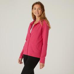 Sweatjacke Kapuze Fitness Damen rosa
